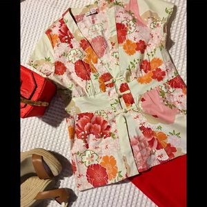 Charlotte Russe Floral Top with an Asian Flare.